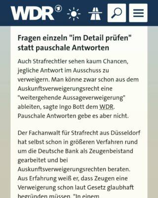 Kanzlei Plan A - Stellungnahme von Rechtsanwalt Dr. Ingo Bott im WDR zu den Abläufen einer Zeugenbeistandschaft im Zusammenhang mit dem laufenden Lüdge-Untersuchungsausschuss.