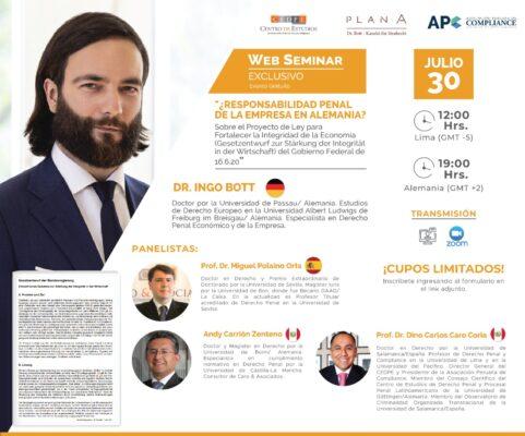 Kanzlei Plan A - Rechtsanwalt Dr. Ingo Bott auf dem WebSeminar am 30.07.2020 mit Prof. Dr. Miguel Polaino Orts, Andy Carrión Zenteno und Prof. Dr. Dino Carlos Caro Coría