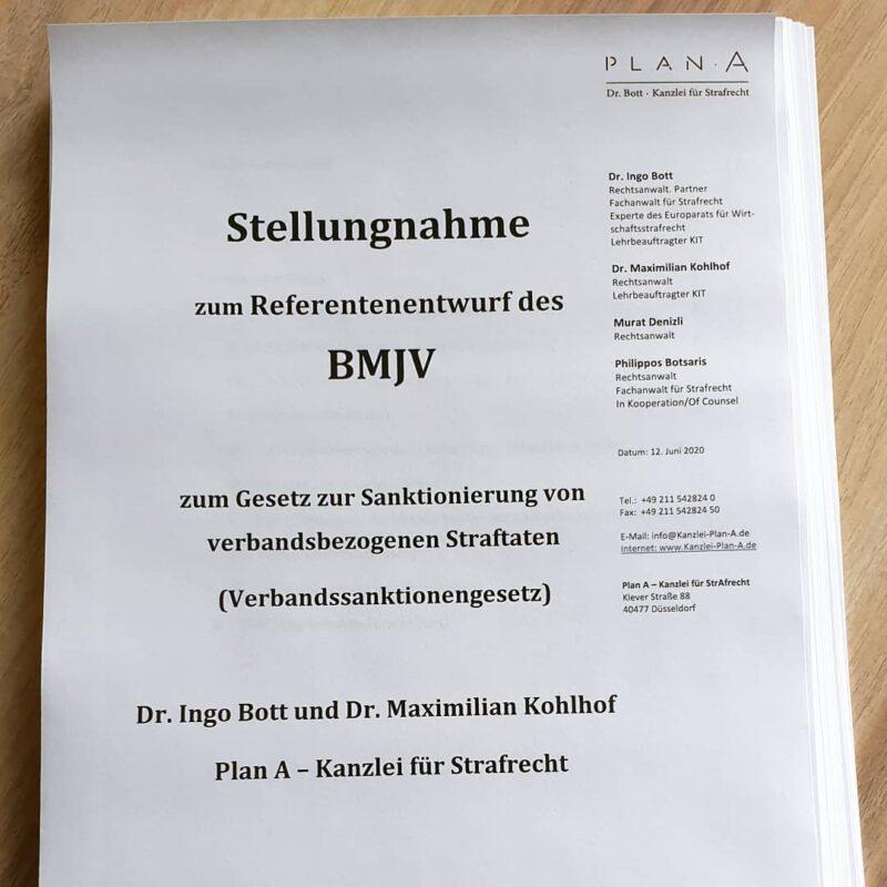 Kanzlei Plan A aus Düsseldorf - Kommentar von Dr. Ingo Bott und Dr. Maximilian Kohlhof zum aktuellen Referentenentwurf des BMJV zum sog. Verbandssanktionengesetz.