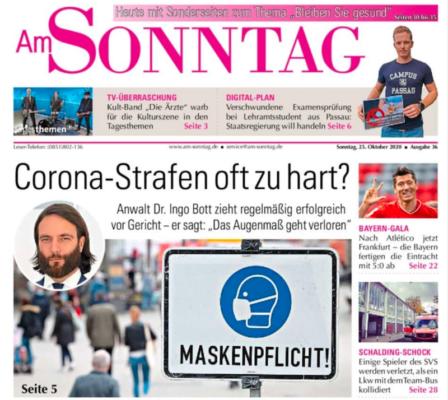 Interview von Plan A-Anwalt Dr. Ingo Bott mit der Passauer Neuen Presse zu Corona-Strafen und Bussgeldern